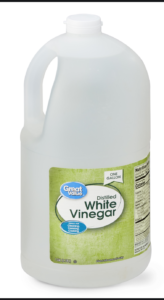 White wine vinegar helps remove water spots on glass